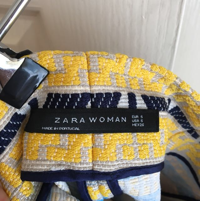Like New Zara Jacquard Blue Yellow Black Embroidered Skirt
