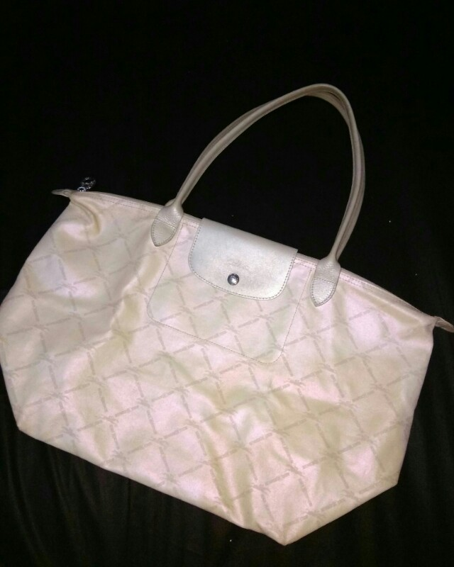 Longchamp white grid authentic