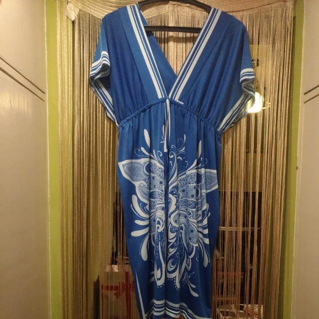 Mini Dress From Bangkok (Blue With White Art Deco Design)