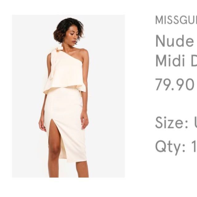 fcb020ccd738 MISSGUIDED Off-White One Shoulder Dress