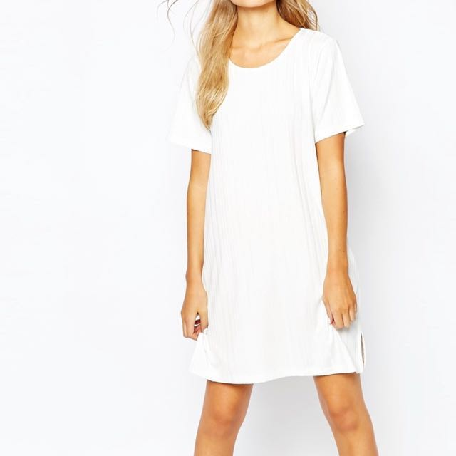 monki ribbed t-shirt dress with slit