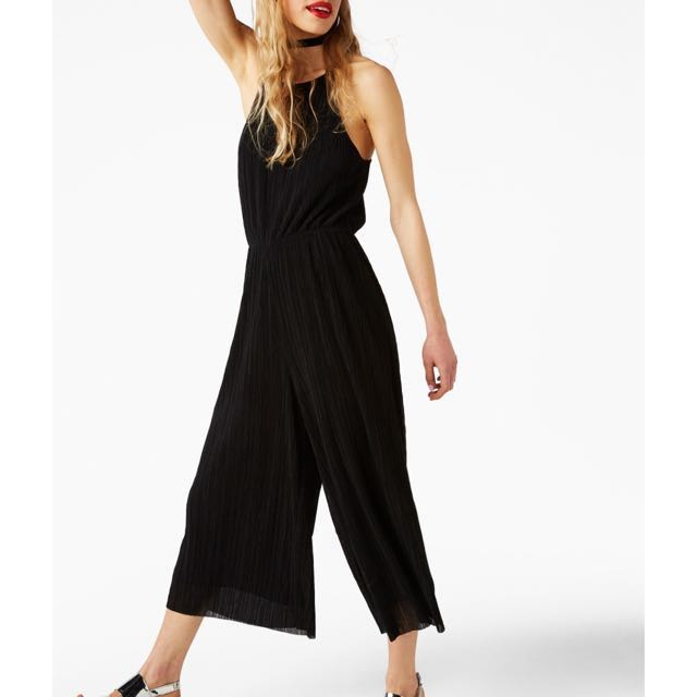 Monki strappy pleated jumpsuit in black