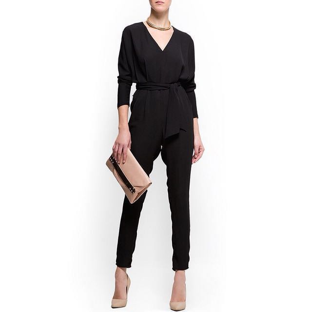 [NEW] Casual Black V neck Long Jumpsuit Playsuit