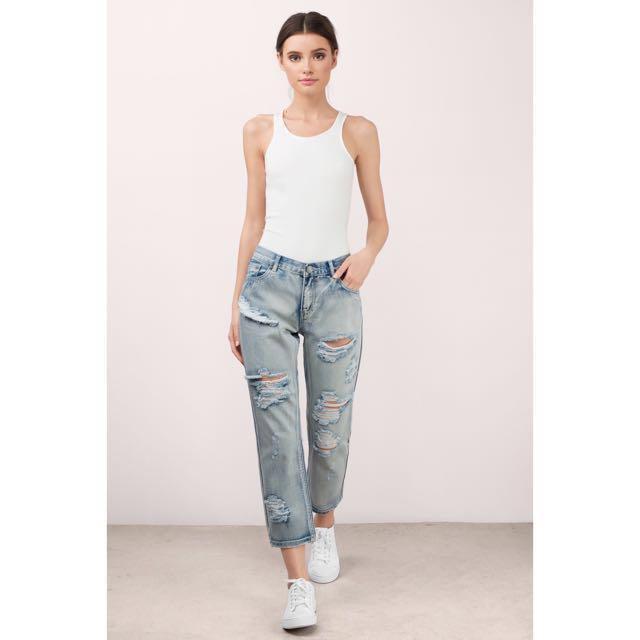 NEW! TOBI (US) Boyfriend Distressed / Ripped Denim Jeans