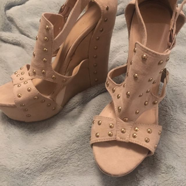 Nude studded Charlotte Russe wedges