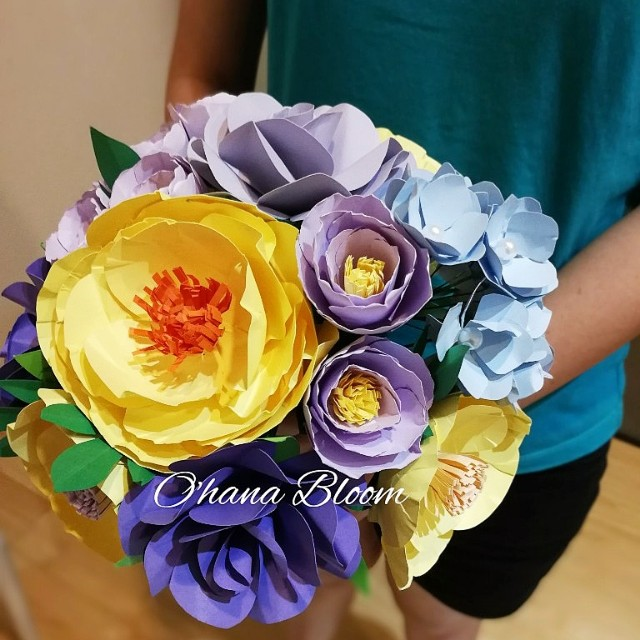 Paper Flower Hand Bouquet Bridal Gift Malaysia