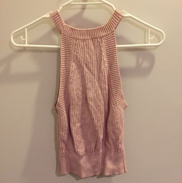 pink knitted crop too