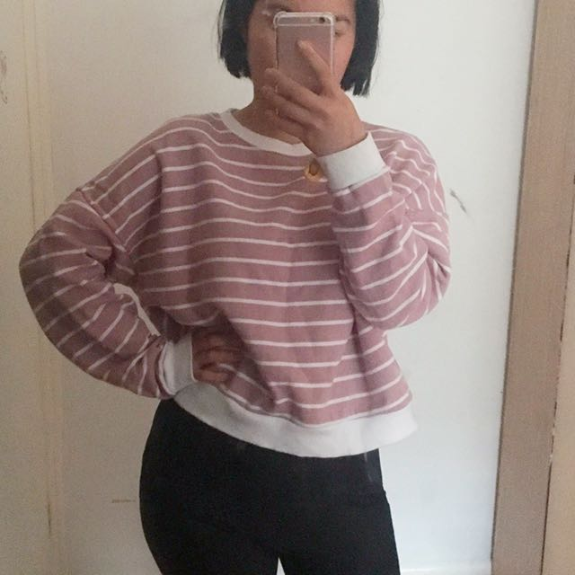Pink stripy crop jumper