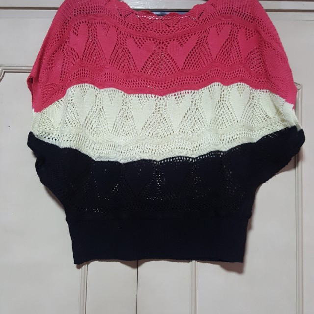 Pink, white, black knit top