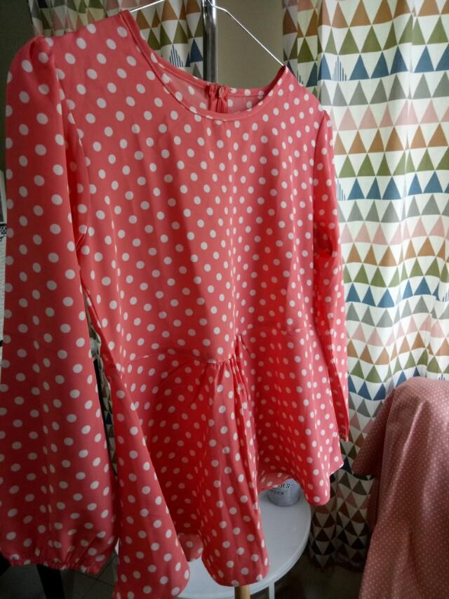 Polka peach blouse