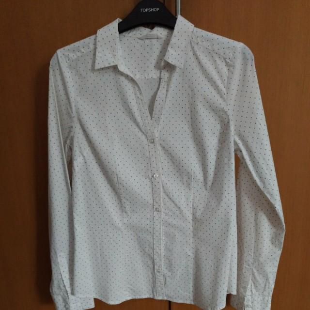 Polkadot white shirt dress