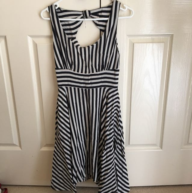 Portmans Work Stripey Cocktail Summer Spring Dress - Size 8