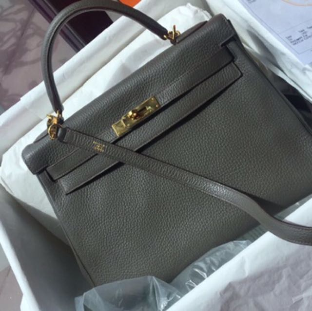 3f6844fcbf14 Preowned Hermes Kelly 32 Etain togo ghw