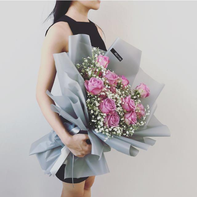 Purple Rose With Baby\'s Breath Bouquet-Korean Style Bouquet ...