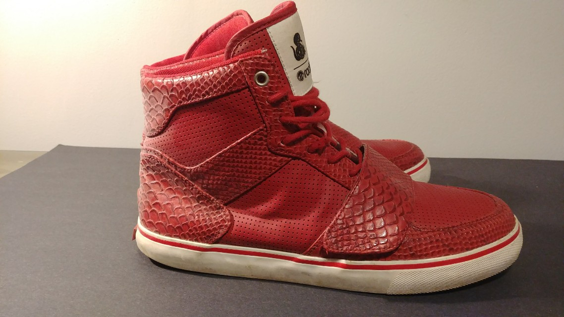 Radii Mens red snake print sneakers