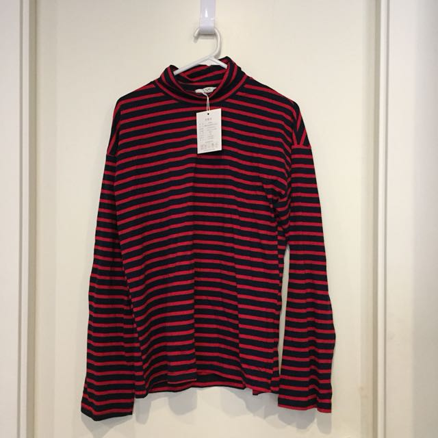 Red and Black Striped Top