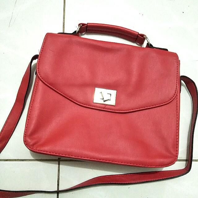 red satchel bag