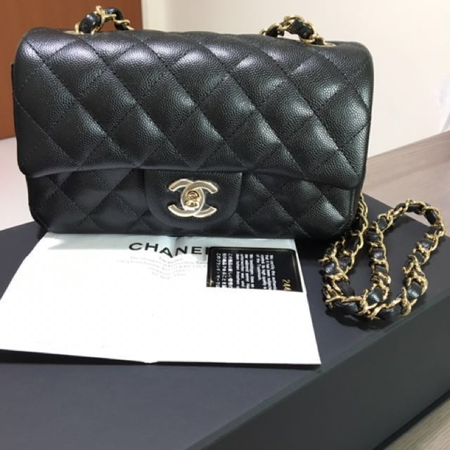 15cd1179c836dd (Reserved) Chanel Mini Rectangular Black Caviar GHW, Luxury, Bags & Wallets  on Carousell