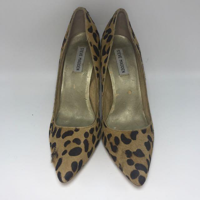Steve Madden ORI Pony Hair Leopard Heels Pump Sz 9.5 M Sepatu Hak  sepatu shoe shoes Hak