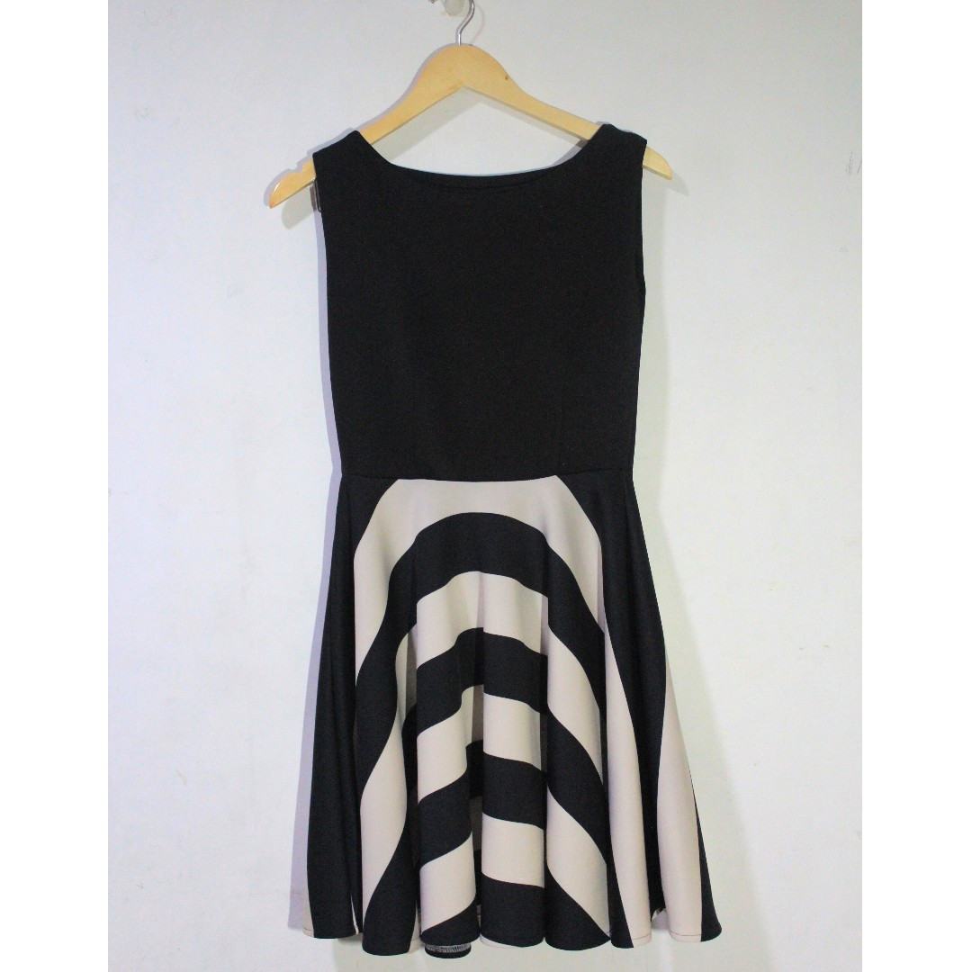 Repriced! Striped Black and White Neoprene Dress