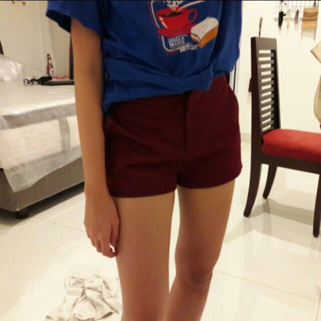 Supre maroon satin shorts