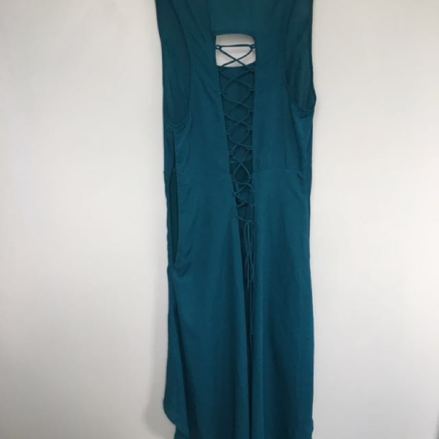 Teal Mermaid Dress With Corset Back