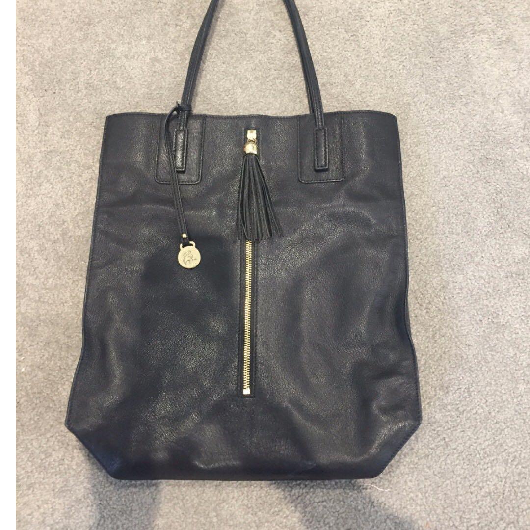 Tilkah large tote leather black hand bag