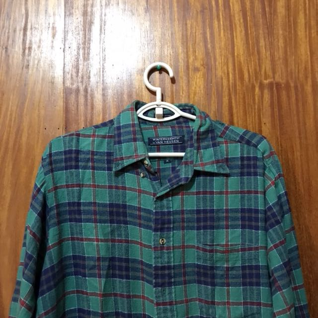VAN HEUSSEN Green Checkered Long Sleeve