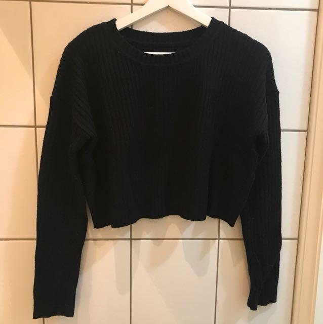 Vintage 黑色短針織毛衣
