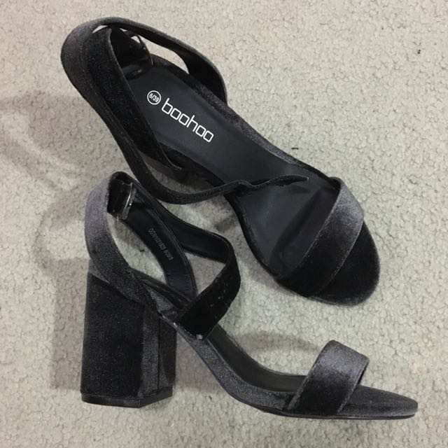 Women's dark grey velvet block heels platforms