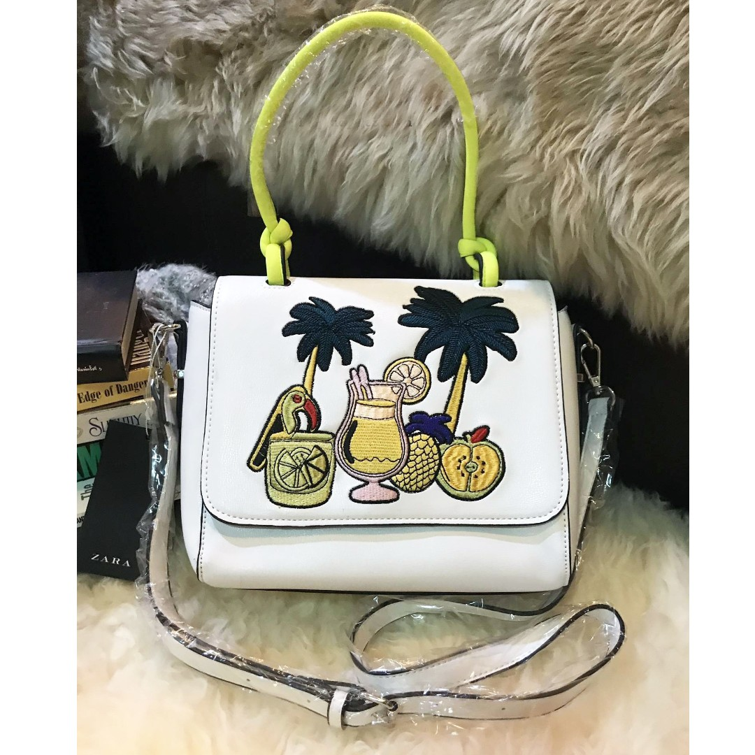 b4f80823f7d 💯ZARA Embroidered Tropical City Bag, Women's Fashion, Bags & Wallets on  Carousell