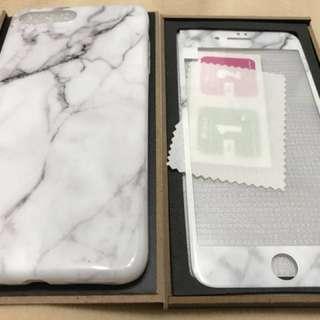 🚚 Iphone7 plus 大理石紋手機保護殼及+9H鋼化玻璃保護貼 #舊愛換新歡