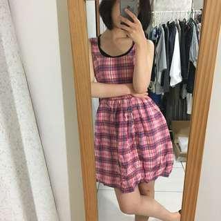 NET 歐美風 鄉村粉紅格紋洋裝 one piece 洋裝👗