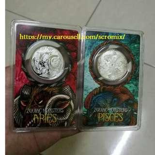 1/10 Oz Silver Coin Aries & Pisces Zodiac (NUBEX)