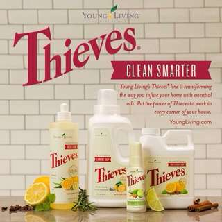 All Young Living Thieves Product available. Thieves mouthwash ; handsoap; thieves spray; aromabright toothpaste ; laundry soap; bar soap; household cleaner; dish soap and thieves EO