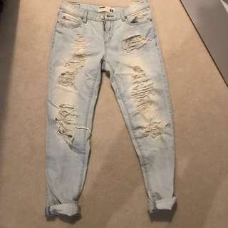 Garage light wash distressed high waisted boyfriend jeans