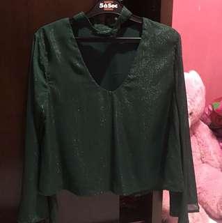 Blouse halter green gliter ICONS