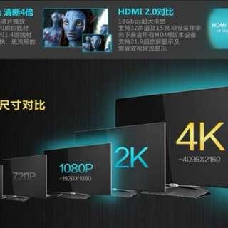 豐原專區→全新款 4K高階扁形HDMI公-HDMI公訊號線畫質清晰 支援2.0版 2米2M 台中豐原