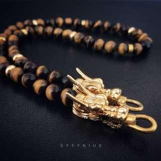 Yellow Tiger Eye Thai Amulet Necklace [5A] 黃虎眼石佛牌項鍊
