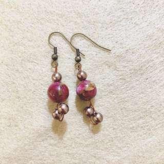 小紅莓 垂釣耳環