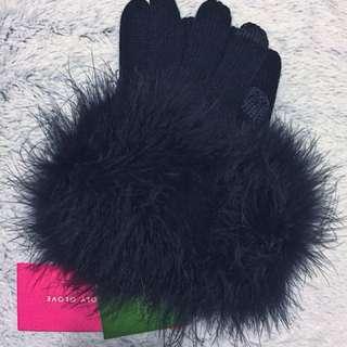 Kate Spade Black Pompom Gloves