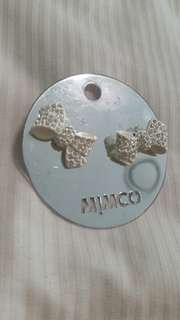 Mimco bow ear white crystal earrings