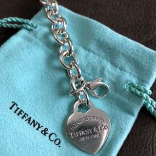 Authentic Tiffany heart tag charm bracelet