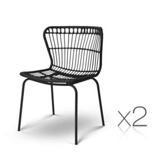 Set of 2 Rattan Dining Chairs Black SKU: BA-H-3929-BKX2