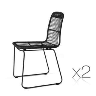 Set of 2 Rattan Dining Chairs Black SKU: BA-H-3928-BKX2