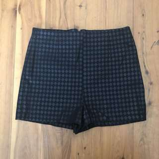Forever 21 Shiny black checkered Shorts Size 8