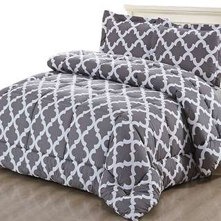 Printed Comforter Set with 2 Pillow Shams - Luxurious Soft Brushed Microfiber - Goose Down Alternative Comforter by Utopia Bedding (Gray, Queen)