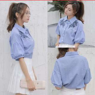Naomi Blue Stripes Embroidery Puffy Sleeves Korean Collar Top