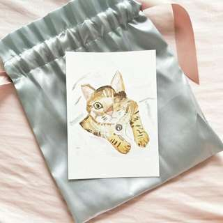 Customized Cat Portrait For Birthday Wedding Graduation Baby Shower Congratulations Watercolour Brushlettering Calligraphy