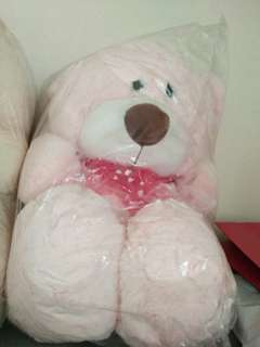 Pink and beige color teddy bear